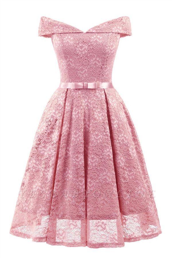 Retro Lace Off-the-shoudler Dress Elegant Cocktail Party Cap Sleeve A Line Vintage Dress