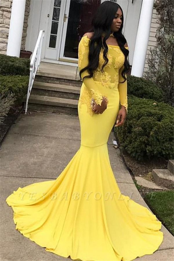 Chic Mermaid Off-the-Shoulder Long-Sleeves Appliques Floor-Length Prom Dresses