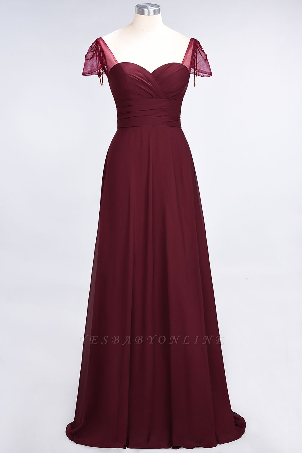 A-Line Sweetheart Cap-Sleeves Ruffle Floor-Length  Bridesmaid Dress with Beadings