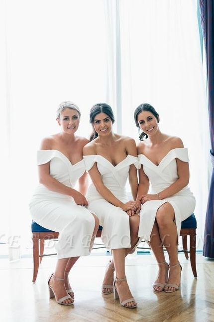 Off The Shoulder Sexy Bridesmaid Dresses | Front Split Cheap White Maid of Honor Dress