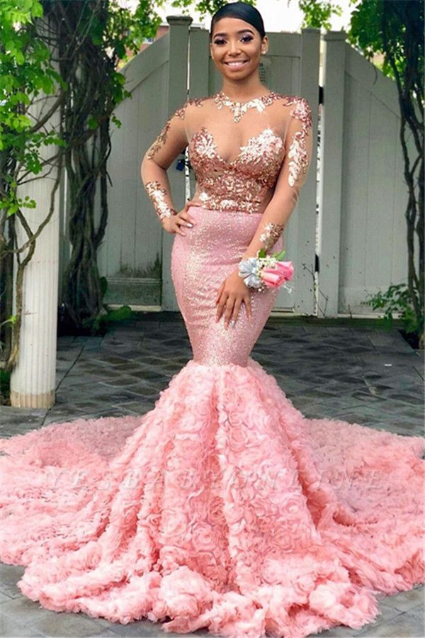Charming Mermaid  Round-Neck Sequins Long-Sleeves Prom Dresses