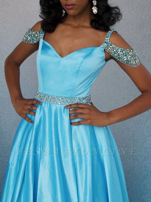 Unique A-Line Off-the-Shoulder Rhinestones Lace Floor-Length Prom Dresses