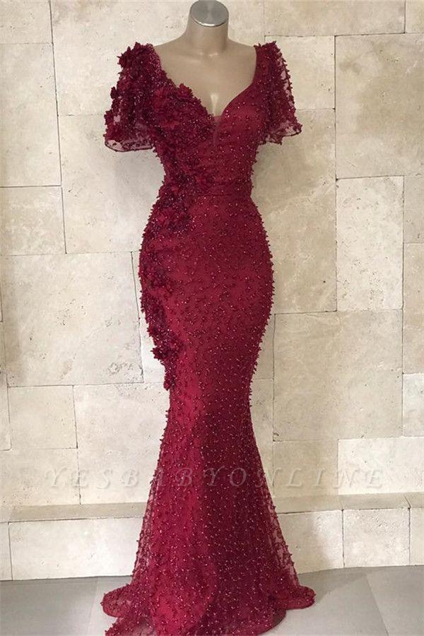 Elegant Mermaid V-Neck Short Sleeves Beading Flower Floor-Length Prom Dresses