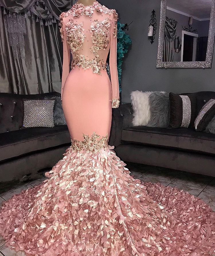 Chic Mermaid Sequins Round-Neck Flower Long-Sleeves Prom Dresses