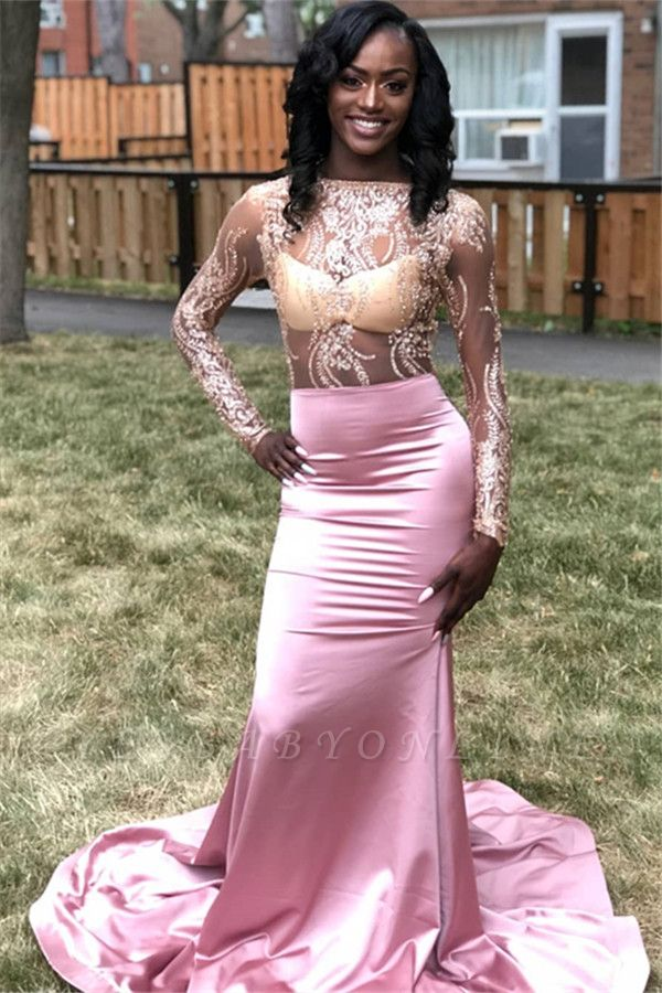 Charming Mermaid Appliques Bateau Long-Sleeves Floor-Length Prom Dresses