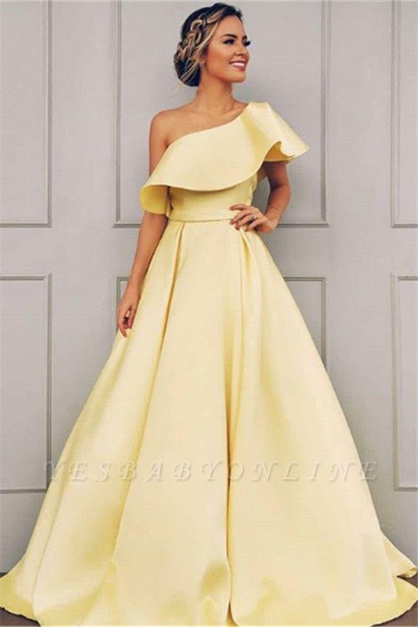 Glamorous A-Line One-Shoulder Sweep-Train Prom Dresses BC0958