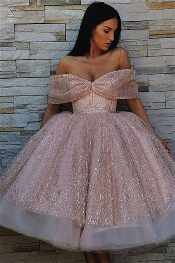 Unique Ball Gown  Off-the-Shoulder Tea-Length Prom Dresses