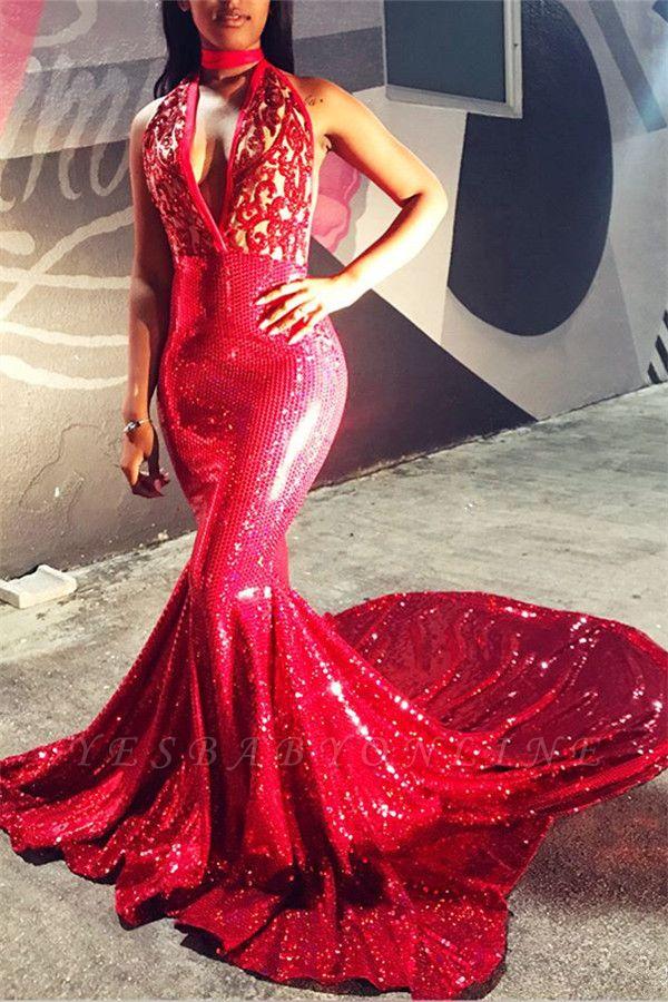Charming Mermaid Deep-V-Neck Appliques Sleeveless Prom Dresses