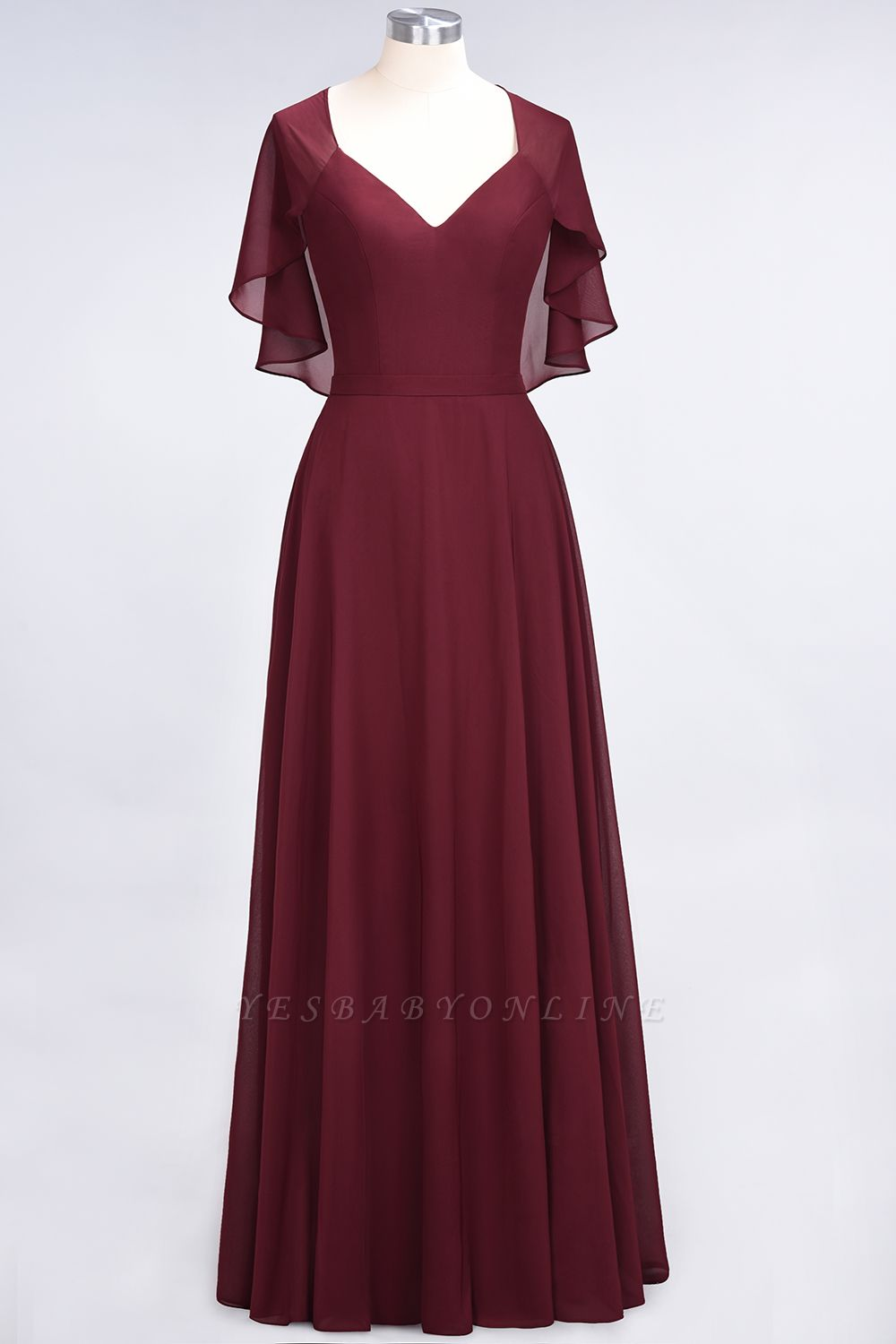 A-Line V-Neck short-sleeves Floor-Length Satin Bridesmaid Dress