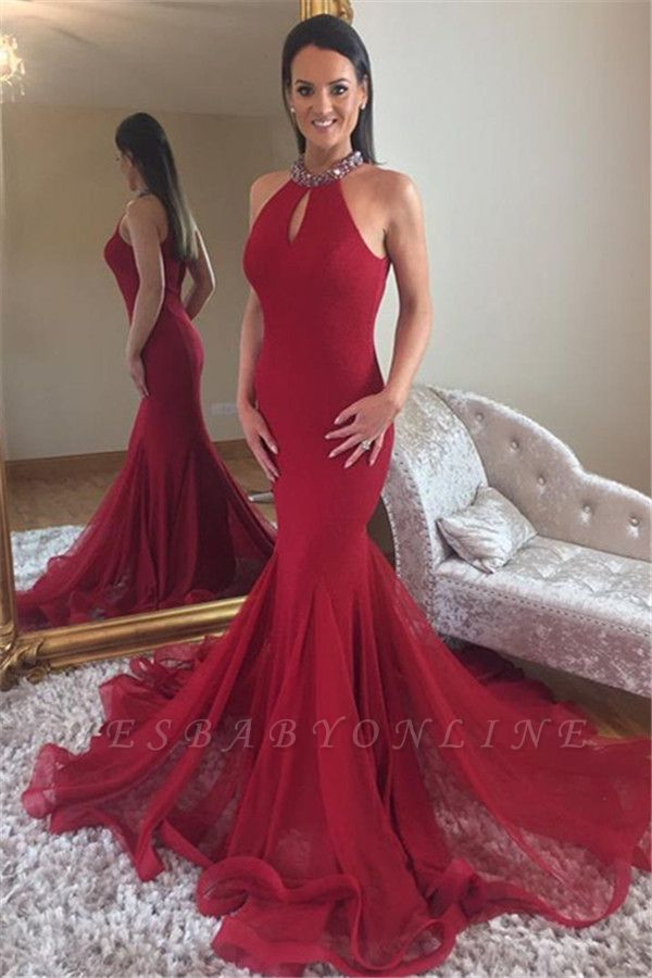 Elegant Mermaid High Neck Sleeveless Crystal Long Prom Dress