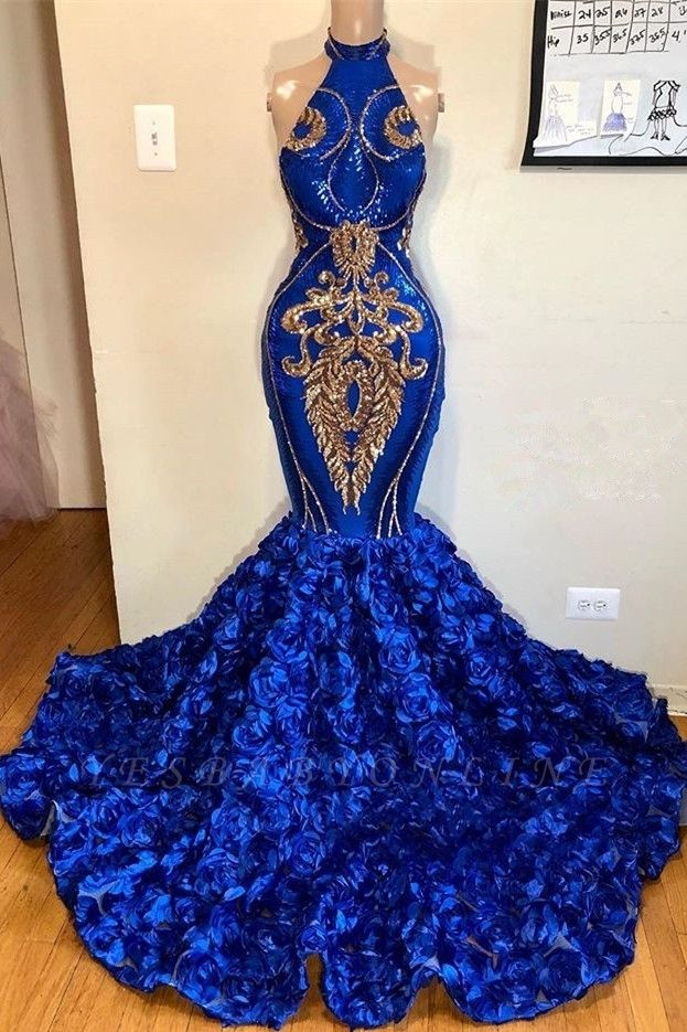 2019 Royal Blue Halter Mermaid Prom Dresses | Gorgeous Sleeveless Flowers Long Evening Gowns