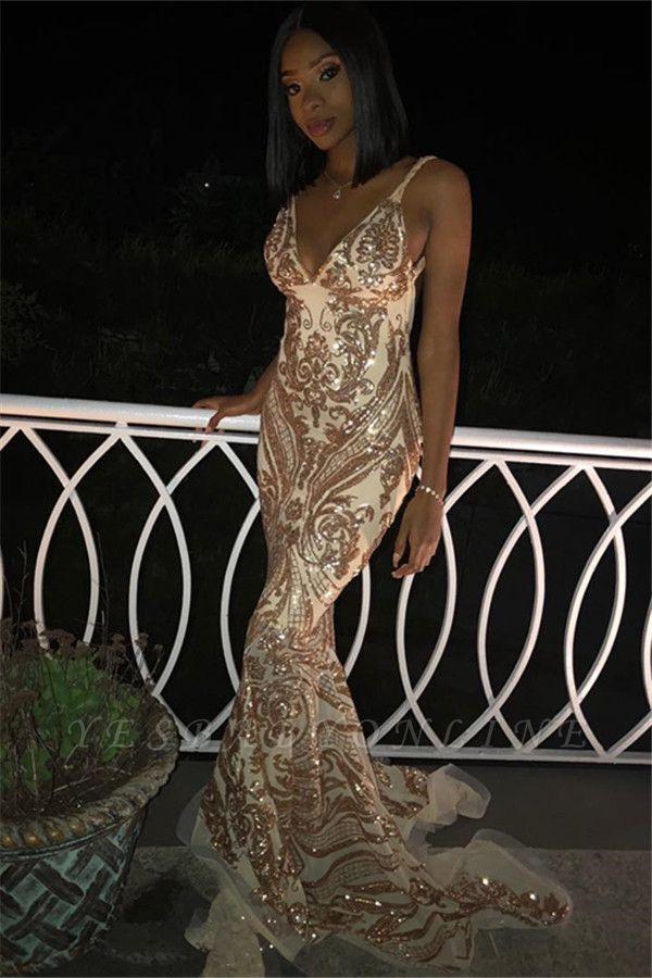 Sexy V-Neck Spaghetti Straps Sleeveless Gold Appliques Mermaid Long Prom Dress
