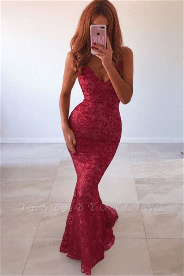 New Arrival V-Neck Lace Open Back Mermaid Long Prom Dress