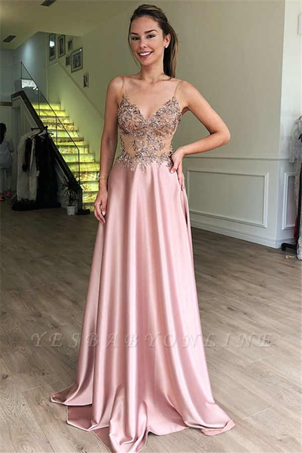 Gorgeous A-Line Spaghetti Straps Sleeveless Beaded Pink Long Prom Dress