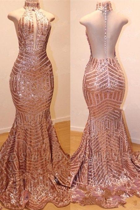 Shiny High Neck Sleeveless Sequins Mermaid Prom Dresses