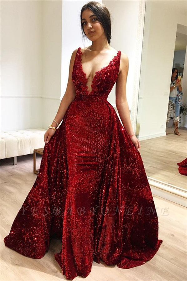 Burgundy A-Line Sleeveless Sequins Elegant Long Prom Dress