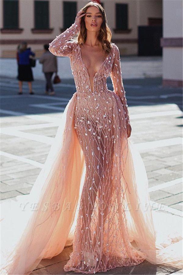 Elegant Mermaid Deep V-Neck Long Sleeves Crystal Long Prom Dress With Detachable Skirt