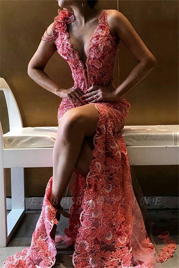Gorgeous V-Neck Flower Side Slit Sleeveless Long Prom Dress