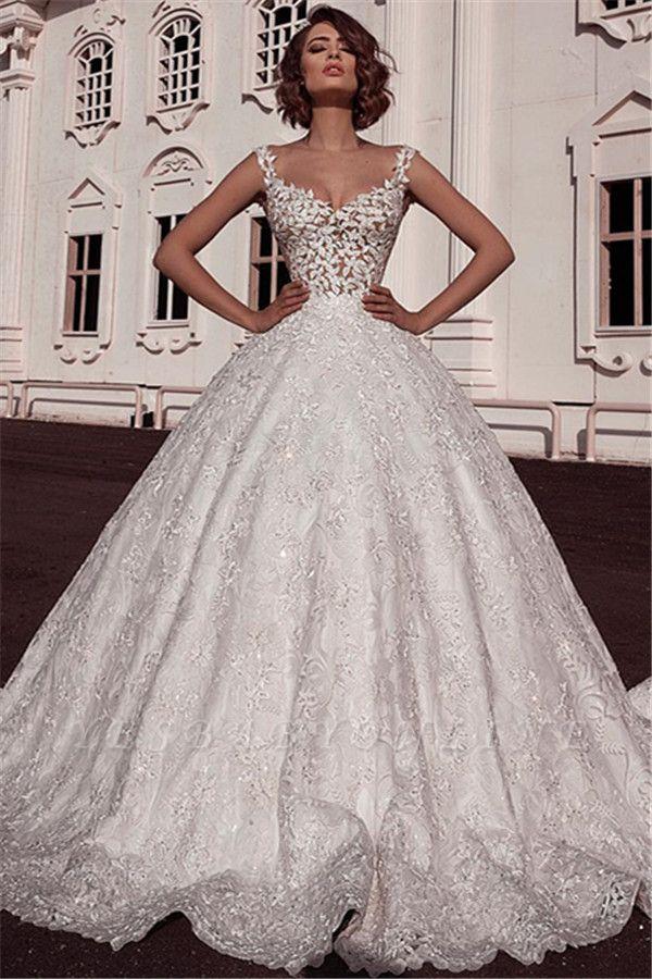 Glamorous Ball Gown Spaghetti Straps Sleeveless Lace Applique Long Wedding Dress BC2482