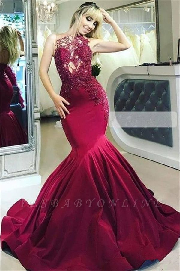 Burgundy Gorgeous Sheer Straps Applique Mermaid Long Prom Dress