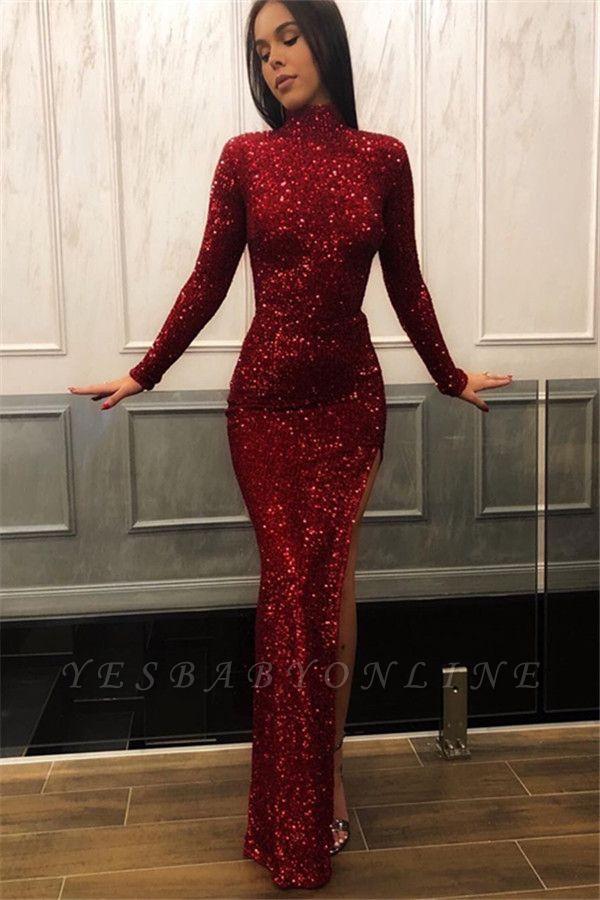 Burgundy Sheath High Neck Long Sleeves Sequins Side Slit Long Prom Dress