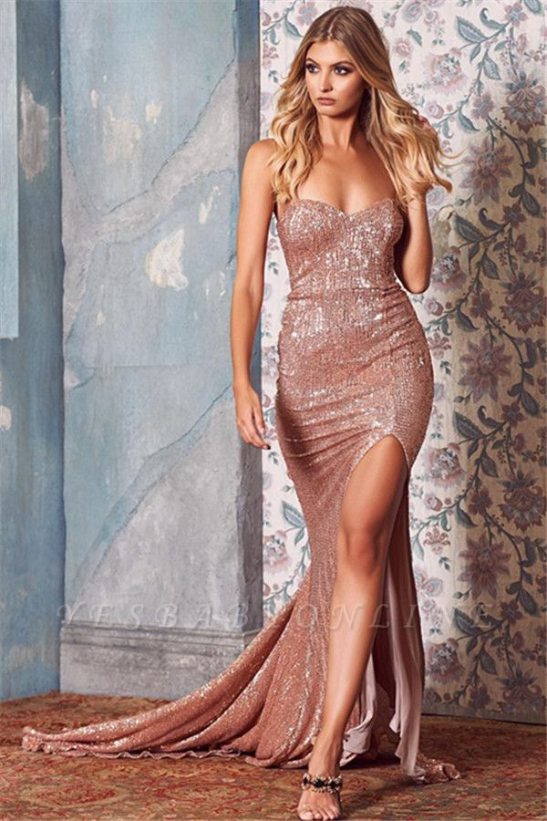 Sexy Sequins Side-Slit Long Prom Dresses | 2019 Sweetheart Mermaid Evening Dresses