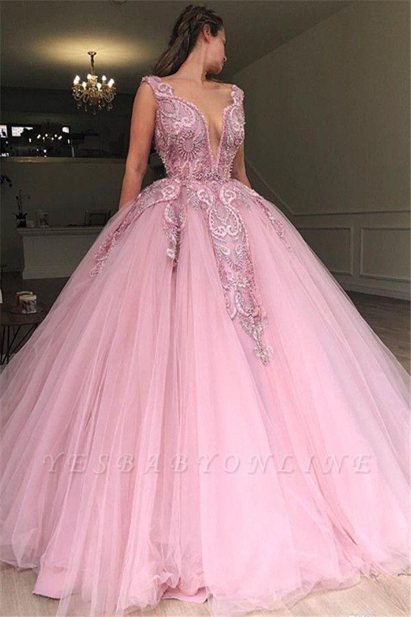 Glamorous Pink Ball Gown Deep V-Neck Sleeveless Applique Long Prom Dress