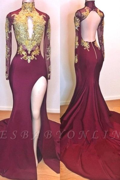 Burgundy Gold Appliques Evening Gowns | Long Sleeves Side Slit Open Back Mermaid Prom Dresses