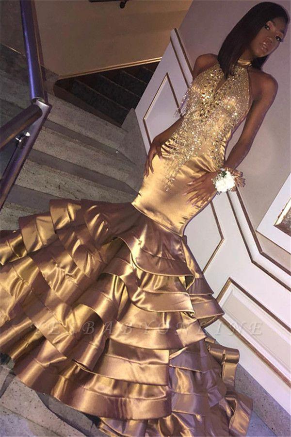 Glamorous Gold Mermaid High Neck Sleeveless Ruffles Crystal Long Prom Dress