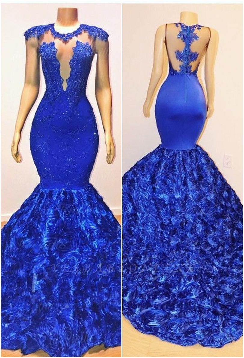 2019 Royal-Blue Flowers Mermaid Long Evening Gowns | Glamorous Sleeveless With lace Appliques Prom Dresses