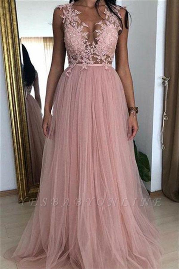 Elegant Pink A-line Sleeveless  Applique Long Prom Dress