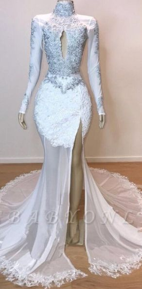 White Stunning Lace Long Sleeves Prom Dresses | 2019 Sheer  Slit Mermaid Evening Gowns