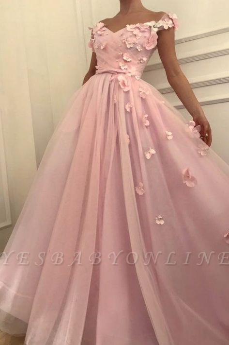 Pink Flowers A-Line  Long Cheap Prom Dress | Elegant Off-the-Shoulder Evening Gowns
