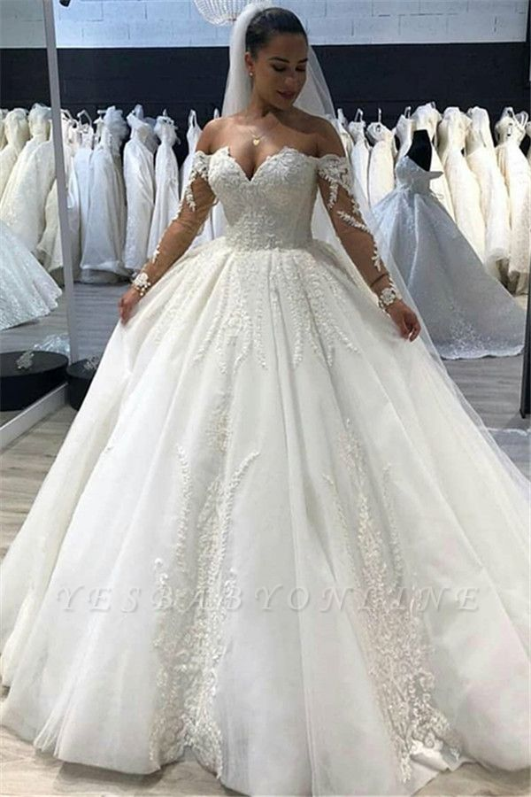 Gorgeous Tulle Sweetheart Long Sleeves Long Wedding Dress