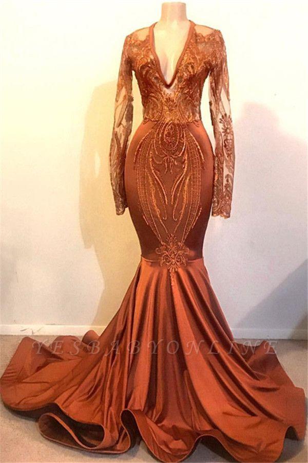 Glamorous Mermaid V-neck Long Sleeves Long Prom Dress