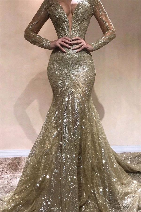 Elegant Mermaid V-Neck Long Sleeves Sequins Long Prom Dress