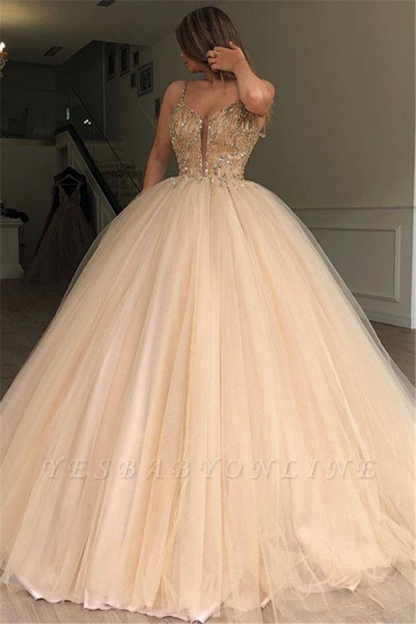 Glamorous Ball Gown Spaghetti Straps Sleeveless Beaded Champagne Wedding Dress