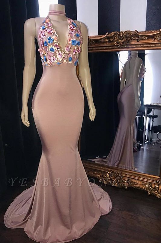 Pink Flowers Appliques Mermaid Long Prom Dresses | Glamorous Sleeveless V-Neck Evening Gowns