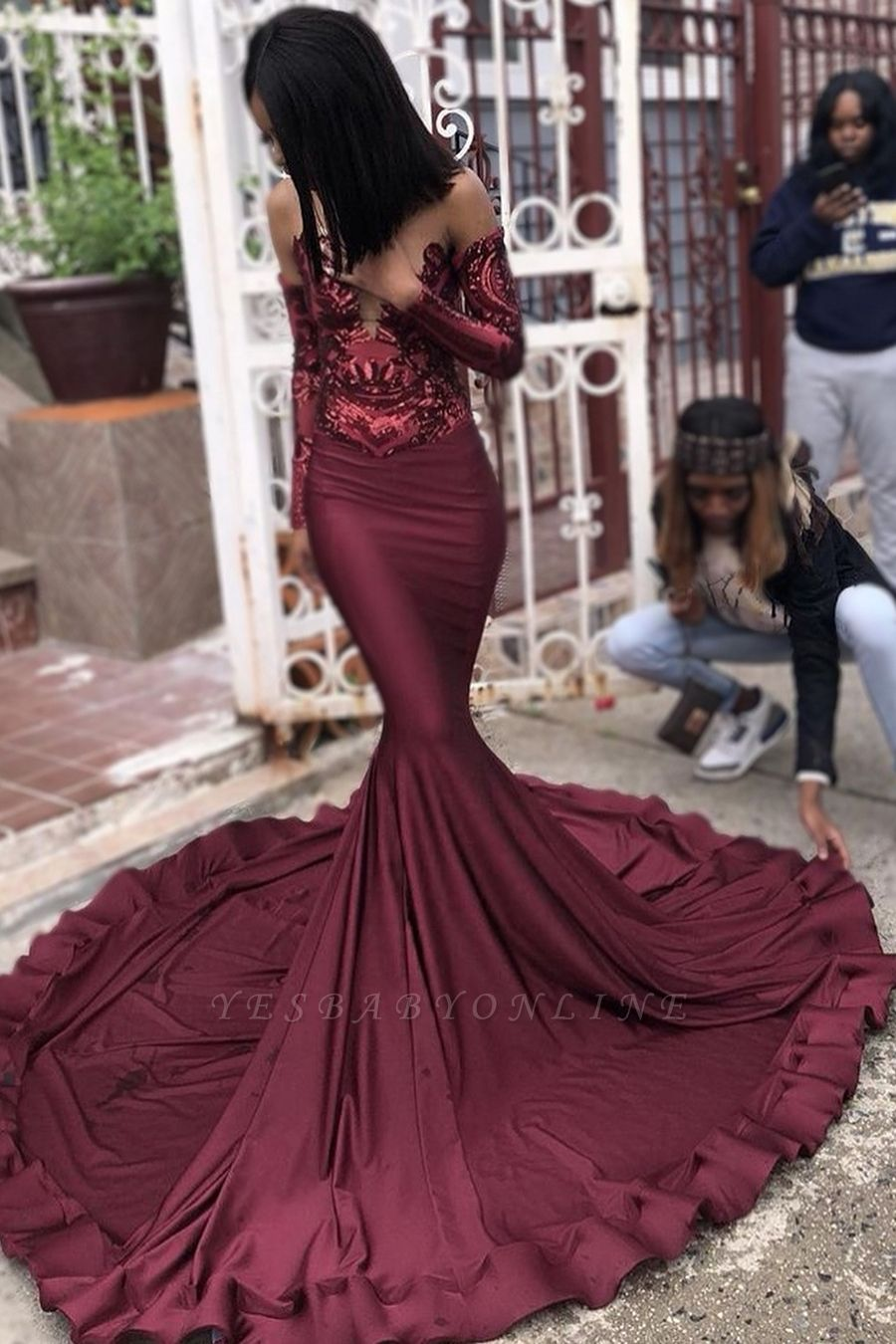 Sexy Burgundy Sequins Mermaid Prom Dresses  Cheap Long Sleeves