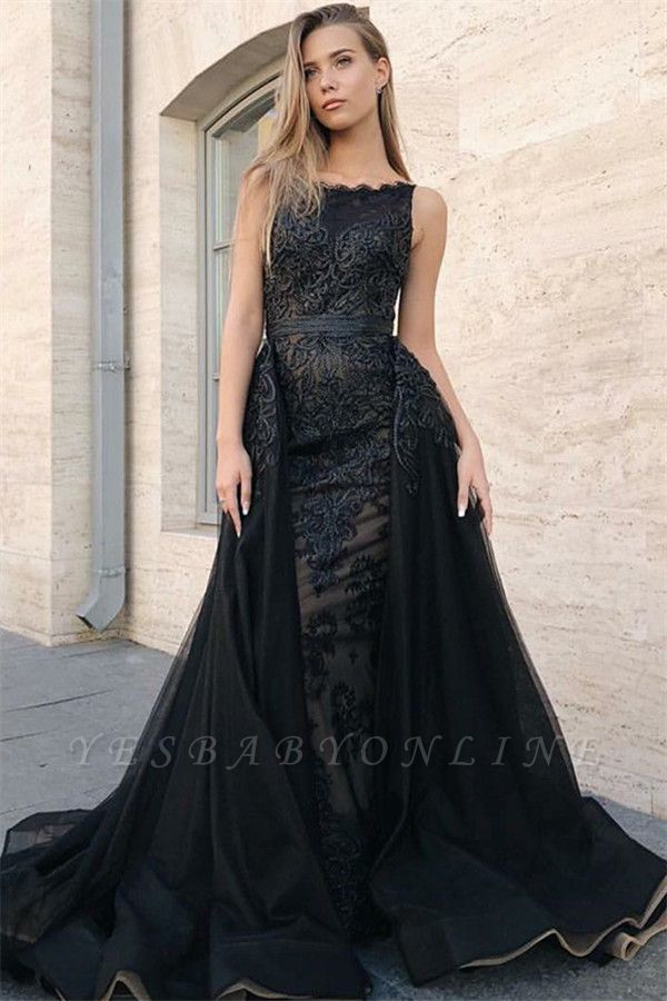 Sleeveless Sexy Mermaid Evening Gowns | Appliques Lace Overskirt Black Prom Dresses