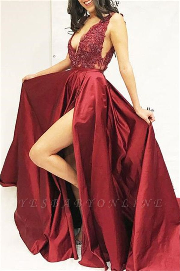 Burgundy A-line Sleeveless V-Neck Applique Side Slit Long Prom Dress