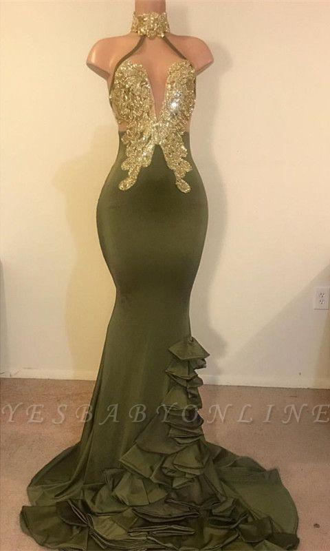 Elegant Sheath High Neck Ruffles Sequins Long Prom Dress