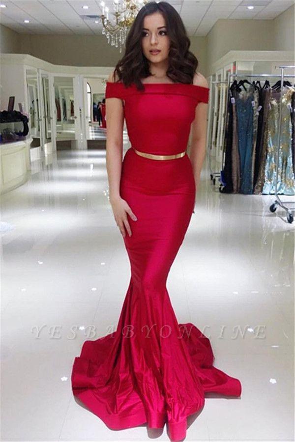 Elegant Off-The-Shoulder Mermaid Cheap Long Prom Dress