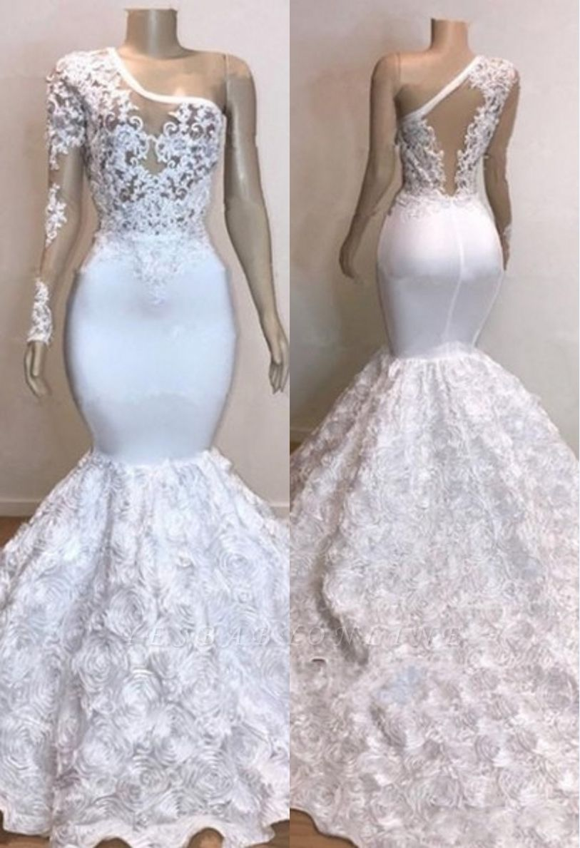One Shoulder Lace Appliques Meramid Prom Dresses with sleeve