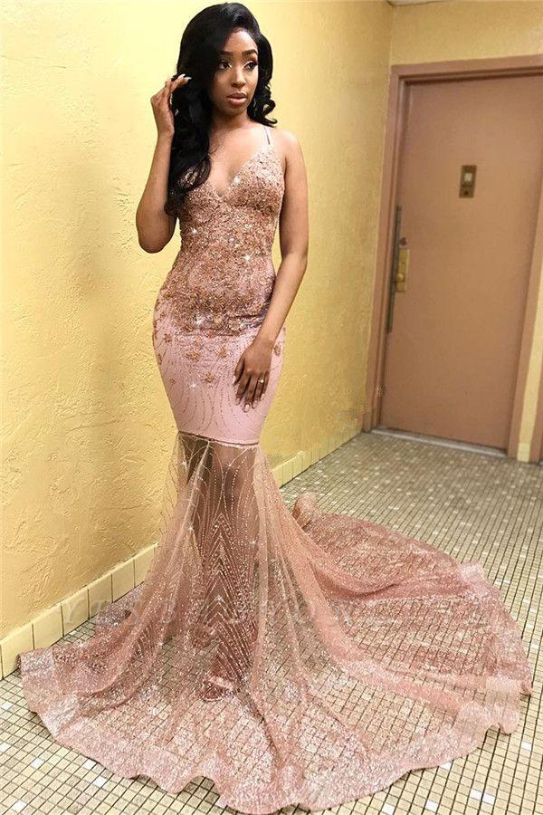 Sexy Pink Sleeveless Spaghetti Straps  Appliques Mermaid Long Prom Dress