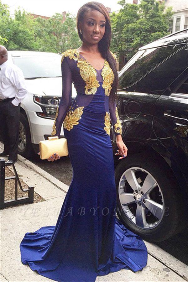 Glamorous Mermaid V-Neck Long Sleeves Velvet Gold Appliques Long Prom Dress