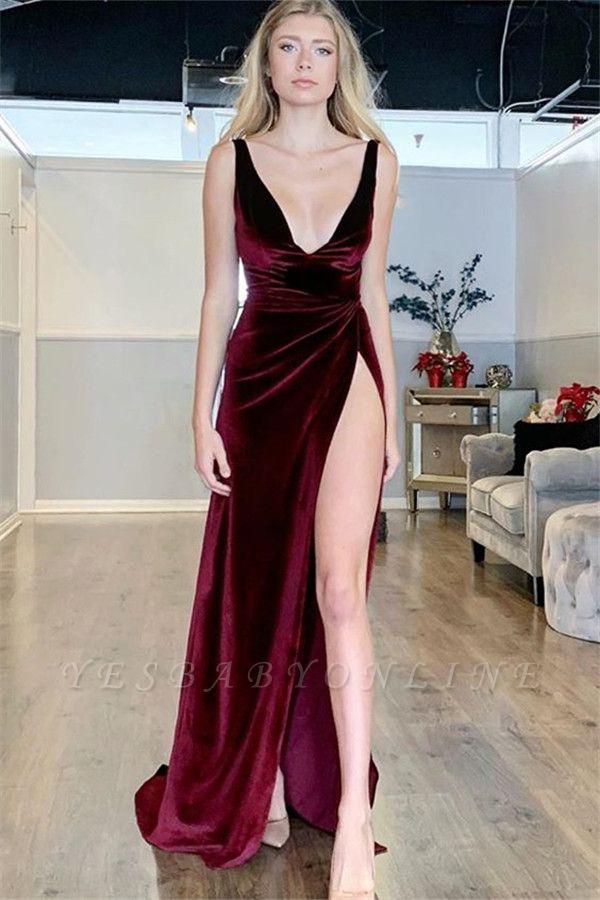 Sexy Burgundy A-Line V-Neck Sleeveless Side Slit Velvet Long Prom Dress