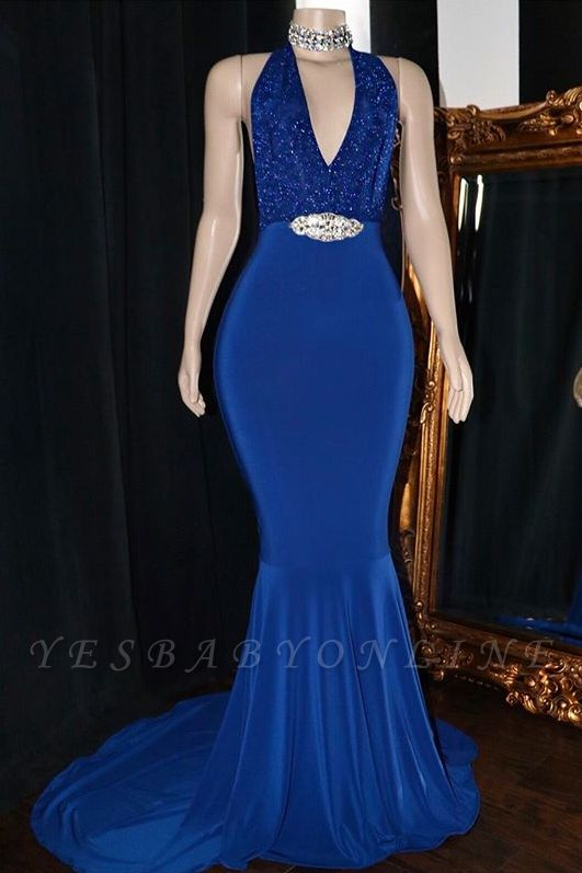 Sexy Halter Sleeveless Mermaid Prom Dresses   2019 V-Neck Appliques Crystal Evening Gowns