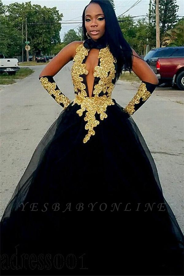 Chic Gold Appliques Ball Gown Prom Dresses | Elegant Black Halter  Evening Gowns