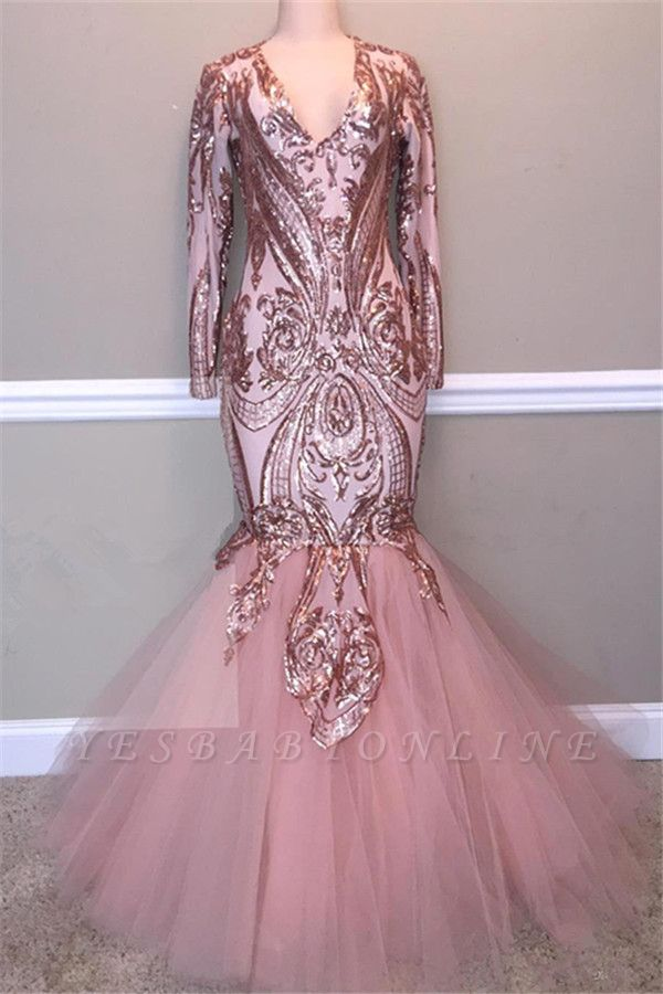 Glamorous Sequins A-Line Long Prom Gowns   2019 Spaghetti Straps V-Neck Evening Dress